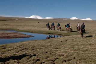 探險隊輕裝騎馬
