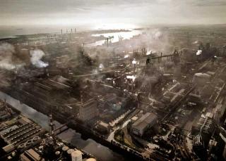 中鋼廠區塵霧蔽天