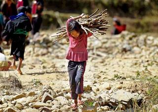 小女孩扛木柴歸返難民營