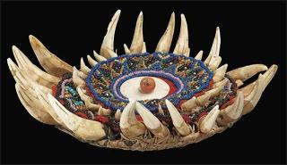 山豬牙綴珠圓形帽飾