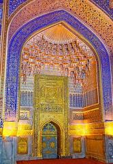位於烏茲別克撒馬爾罕的Tilya Kori Madrasah清真寺