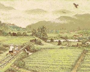 臺車在輕便軌道上,越過農地、溝渠