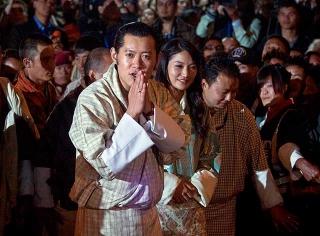 國王及王后佩瑪在不丹首都廷布視察